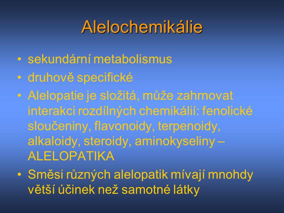 Alelochemikálie sekundární metabolismus druhově specifické