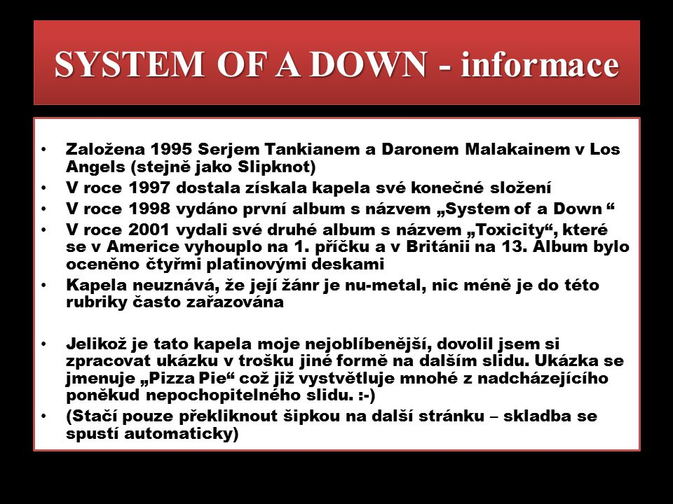 SYSTEM OF A DOWN - informace