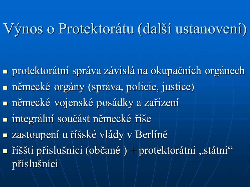 Výnos o Protektorátu (další ustanovení)