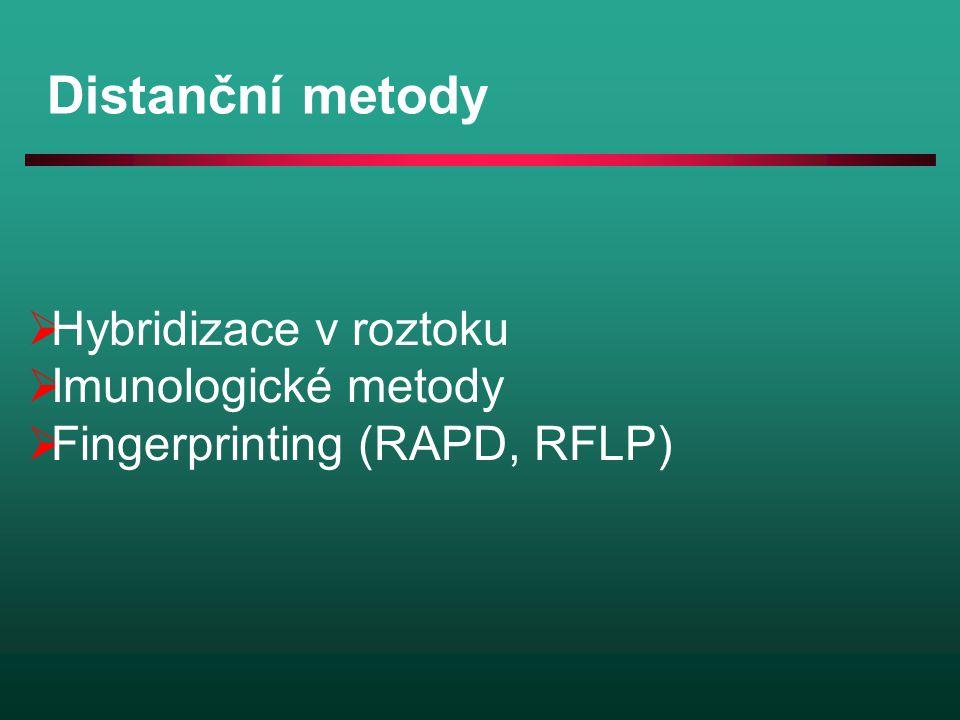 Distanční metody Hybridizace v roztoku Imunologické metody