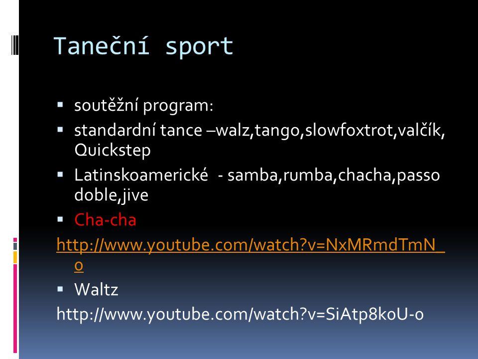 Taneční sport soutěžní program: