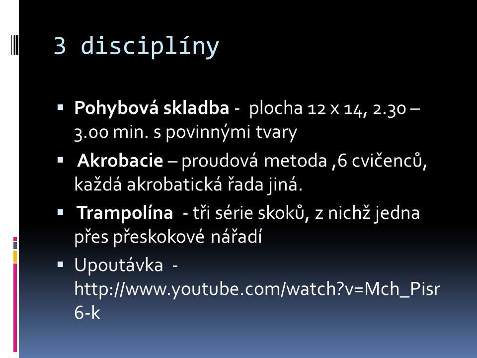 3 disciplíny Pohybová skladba - plocha 12 x 14, 2.30 – 3.00 min. s povinnými tvary.