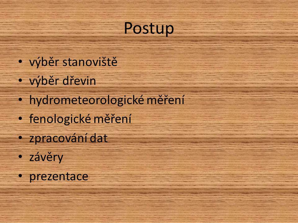 Postup výběr stanoviště výběr dřevin hydrometeorologické měření