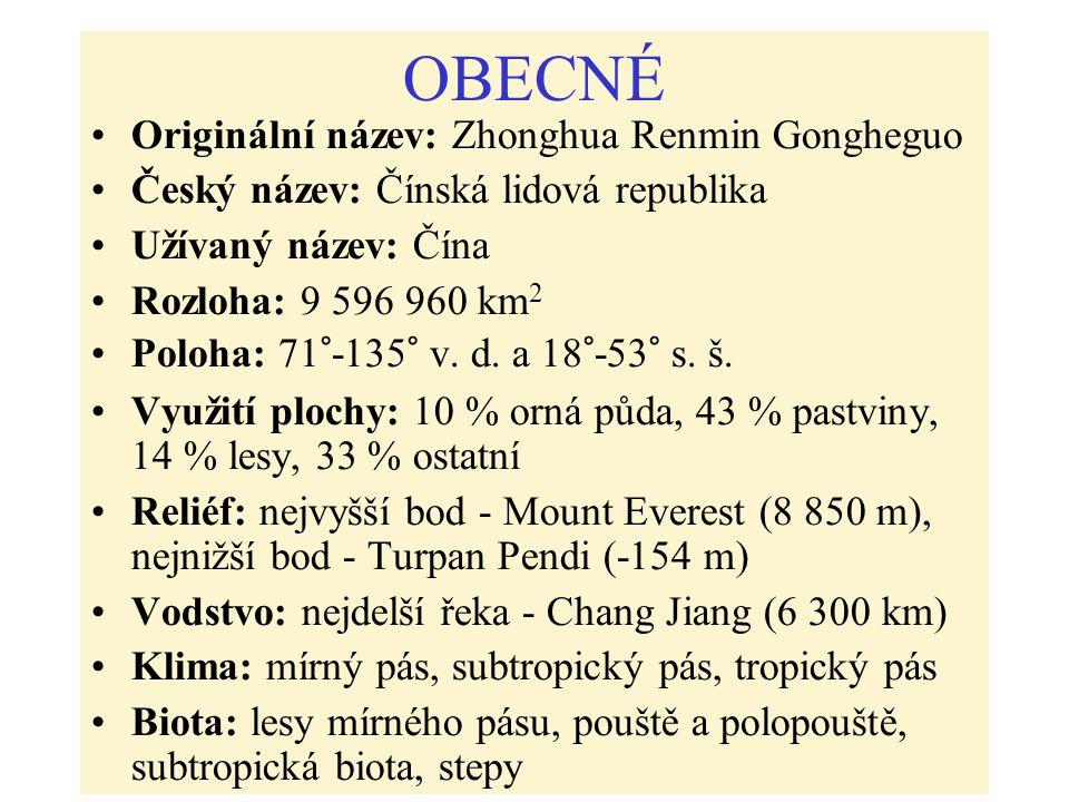 OBECNÉ Originální název: Zhonghua Renmin Gongheguo