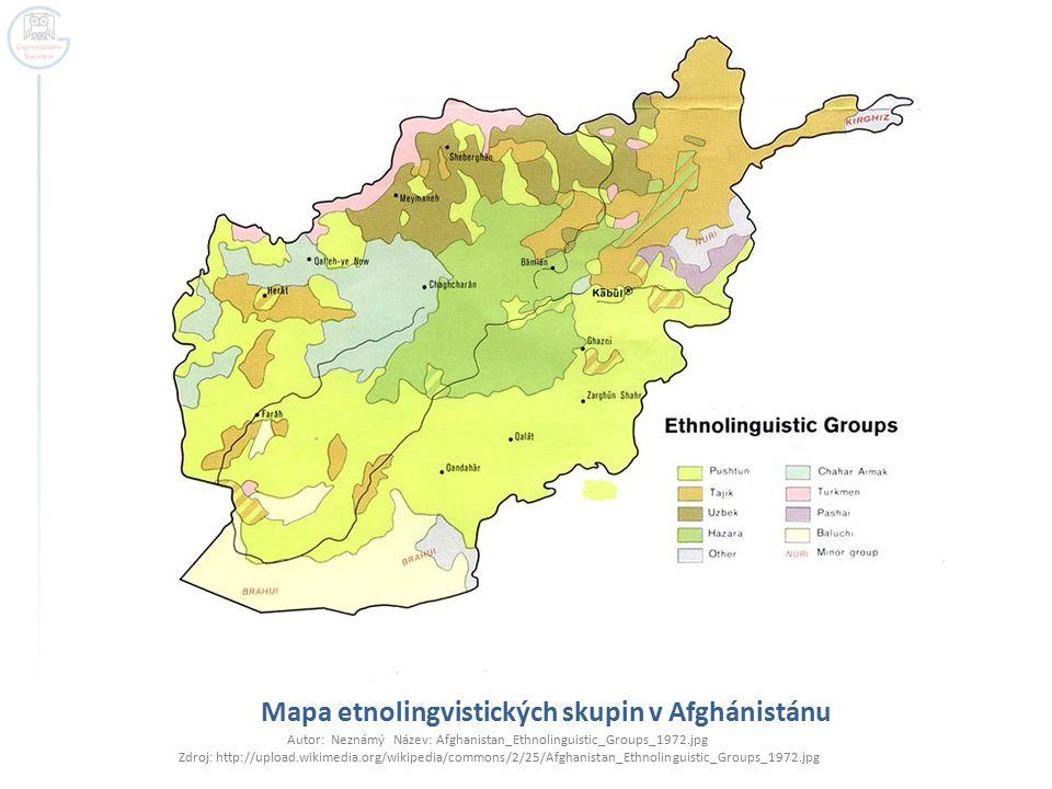 Mapa etnolingvistických skupin v Afghánistánu