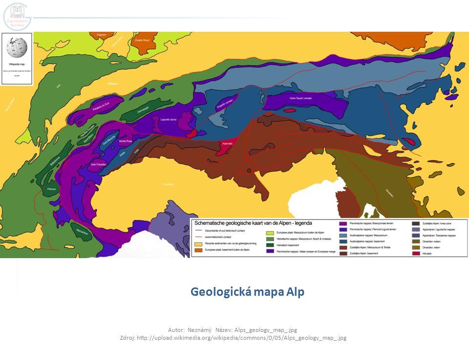 Geologická mapa Alp Autor: Neznámý Název: Alps_geology_map_.jpg Zdroj: http://upload.wikimedia.org/wikipedia/commons/0/05/Alps_geology_map_.jpg.