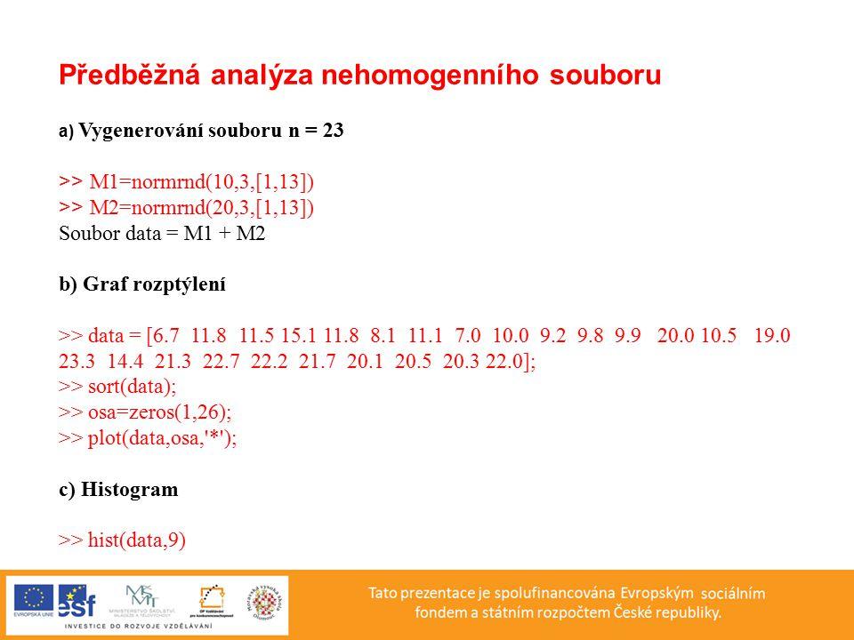 Předběžná analýza nehomogenního souboru