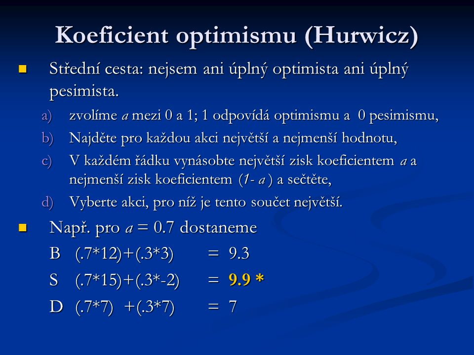Koeficient optimismu (Hurwicz)