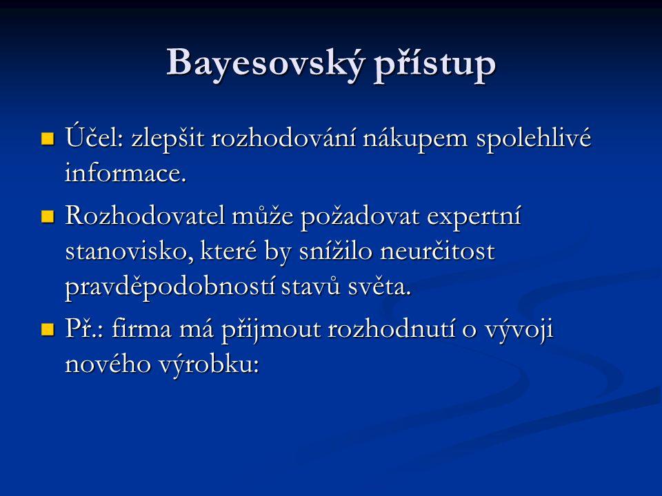 Bayesovský přístup Účel: zlepšit rozhodování nákupem spolehlivé informace.
