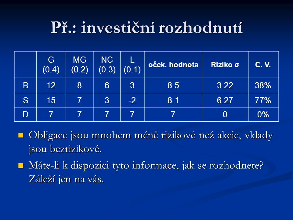 Př.: investiční rozhodnutí