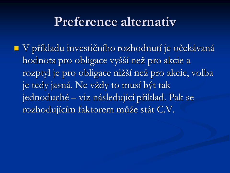 Preference alternativ