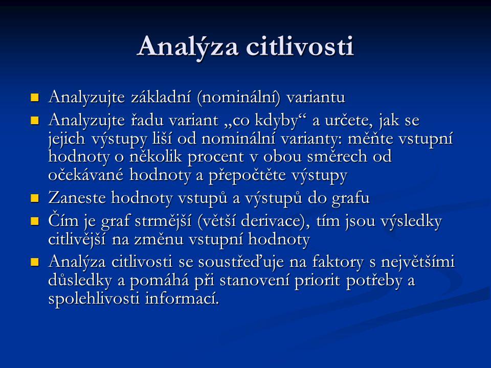 Analýza citlivosti Analyzujte základní (nominální) variantu