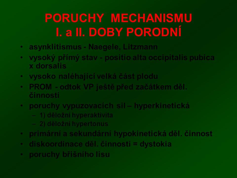 PORUCHY MECHANISMU I. a II. DOBY PORODNÍ