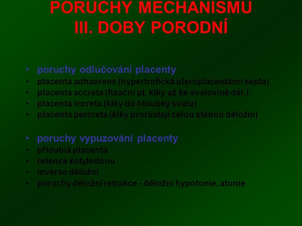 PORUCHY MECHANISMU III. DOBY PORODNÍ