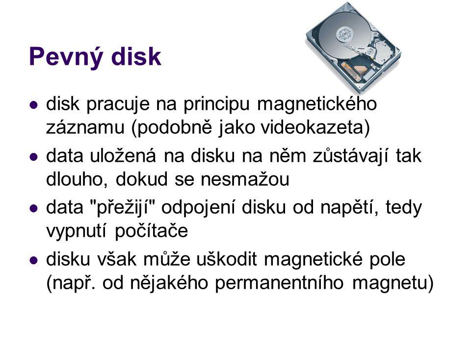 Pevný disk disk pracuje na principu magnetického záznamu (podobně jako videokazeta)
