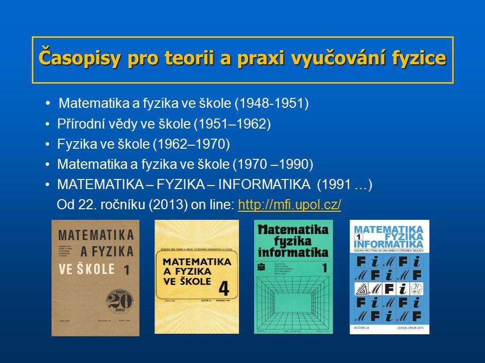 Časopisy pro teorii a praxi vyučování fyzice