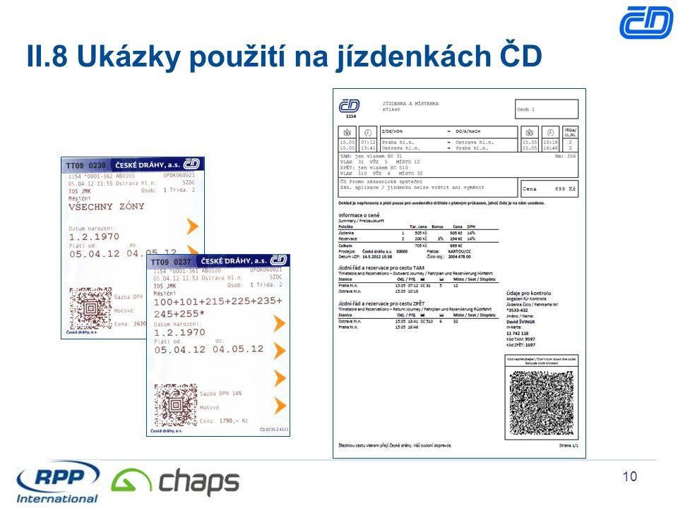 II.8 Ukázky použití na jízdenkách ČD