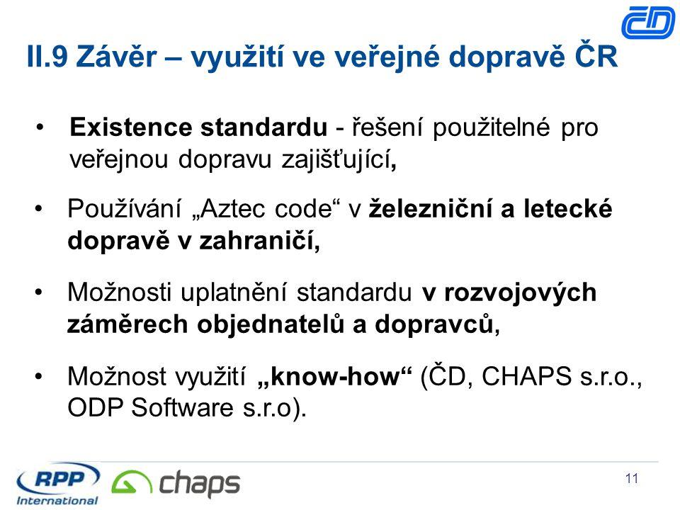 II.9 Závěr – využití ve veřejné dopravě ČR