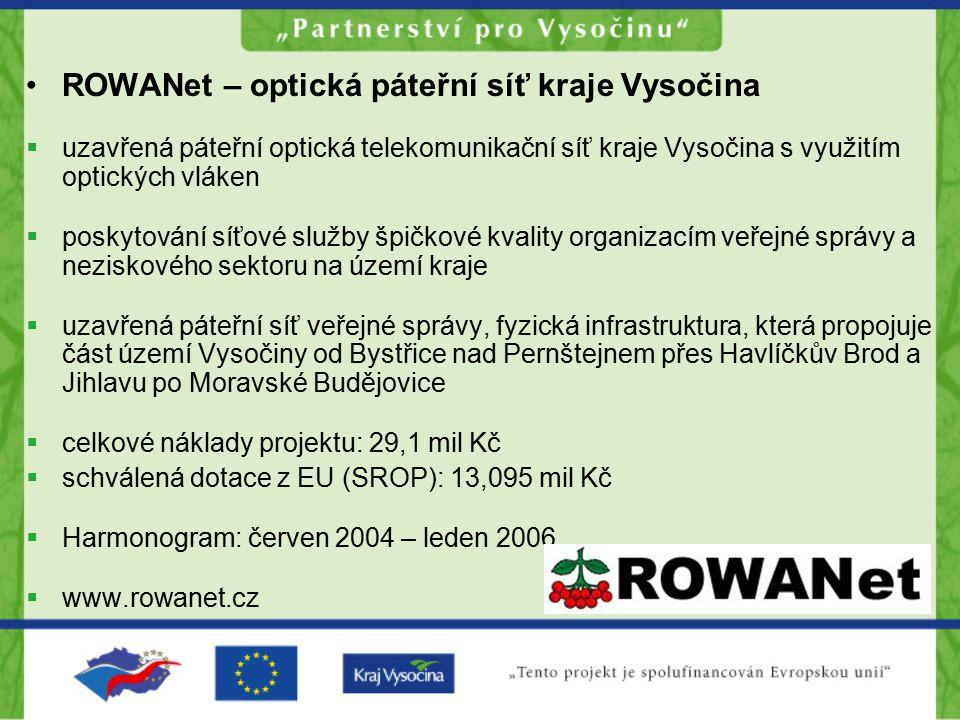 ROWANet – optická páteřní síť kraje Vysočina