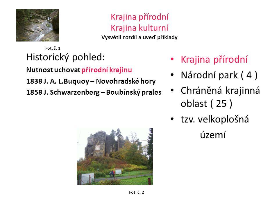 Krajina přírodní Krajina kulturní Vysvětli rozdíl a uveď příklady