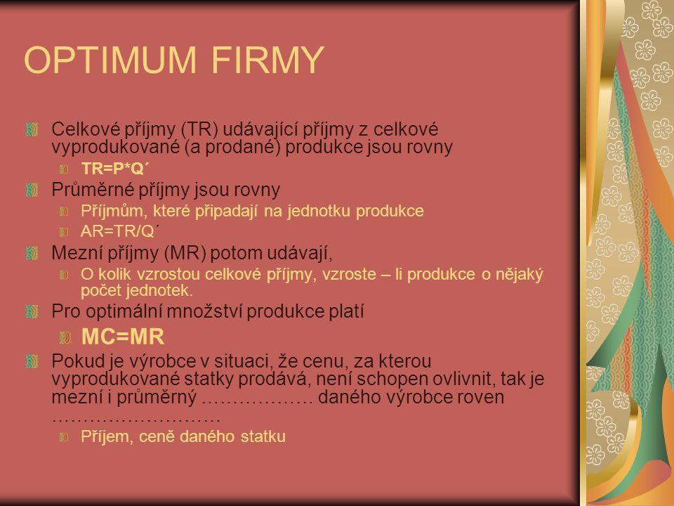 OPTIMUM FIRMY Celkové příjmy (TR) udávající příjmy z celkové vyprodukované (a prodané) produkce jsou rovny.