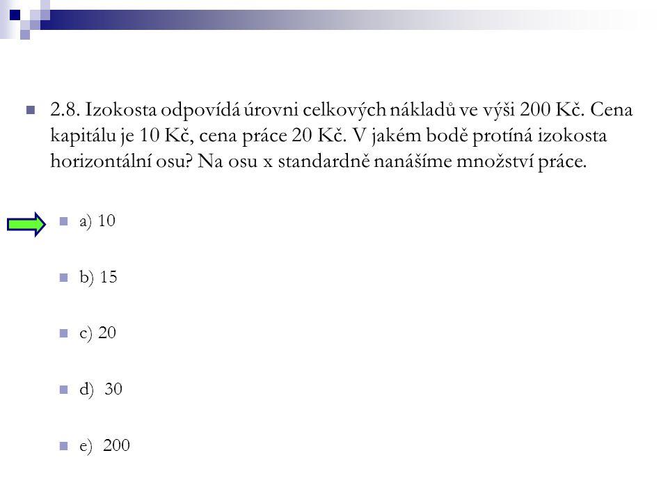 2. 8. Izokosta odpovídá úrovni celkových nákladů ve výši 200 Kč