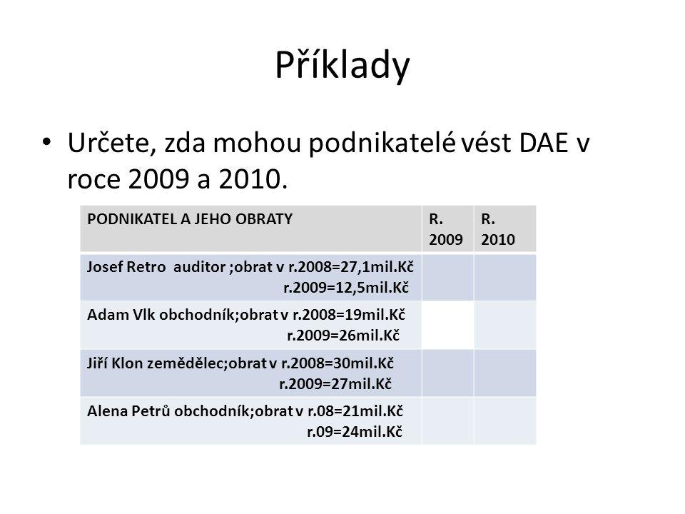 Příklady Určete, zda mohou podnikatelé vést DAE v roce 2009 a 2010.