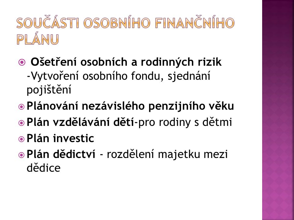 Součásti osobního finančního plánu