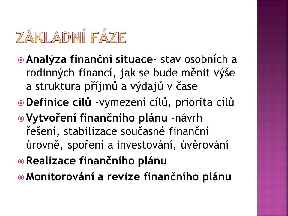 Základní fáze Analýza finanční situace- stav osobních a rodinných financí, jak se bude měnit výše a struktura příjmů a výdajů v čase.