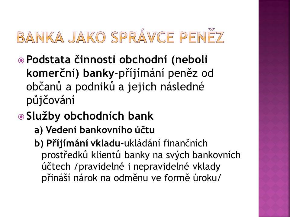 Banka jako správce peněz