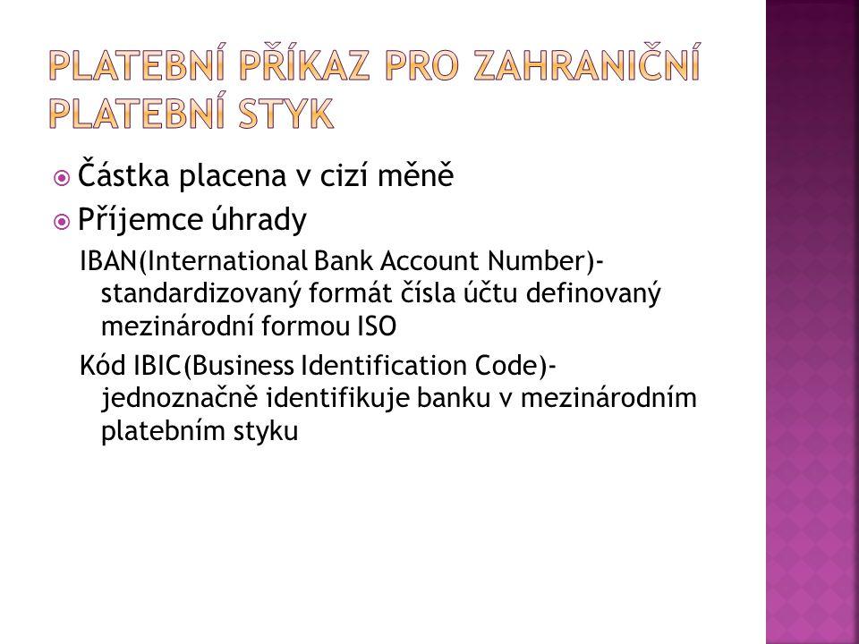 Platební příkaz pro zahraniční platební styk