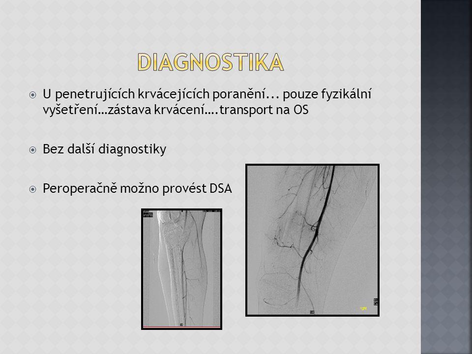 diagnostika U penetrujících krvácejících poranění... pouze fyzikální vyšetření…zástava krvácení….transport na OS.