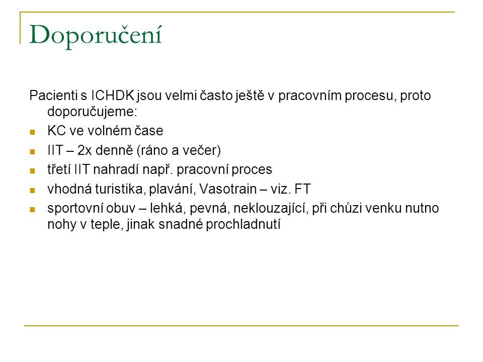 Doporučení Pacienti s ICHDK jsou velmi často ještě v pracovním procesu, proto doporučujeme: KC ve volném čase.