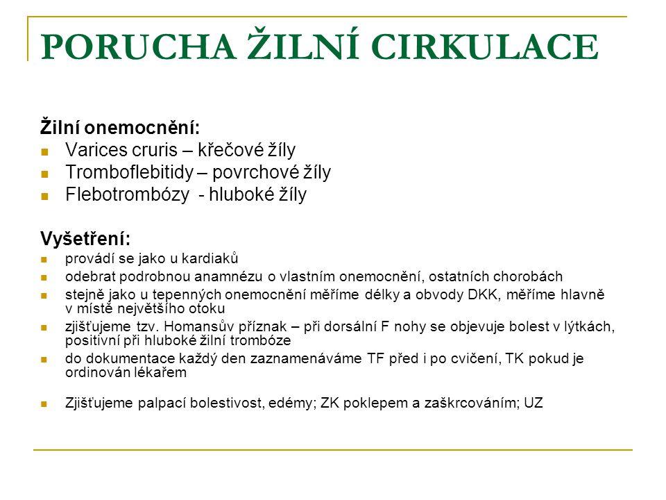 PORUCHA ŽILNÍ CIRKULACE