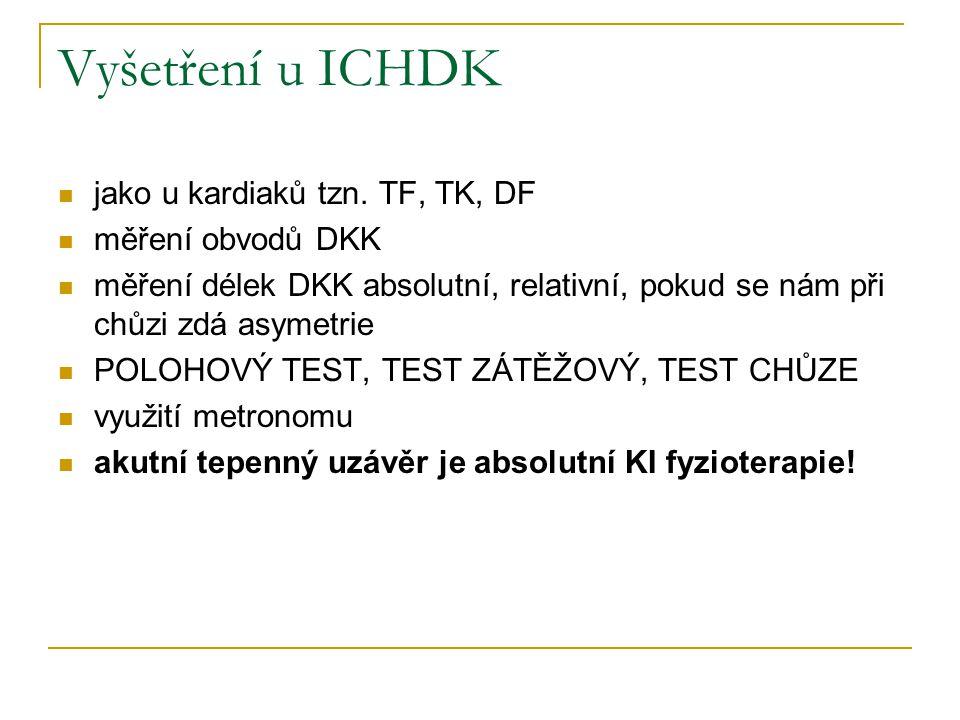 Vyšetření u ICHDK jako u kardiaků tzn. TF, TK, DF měření obvodů DKK