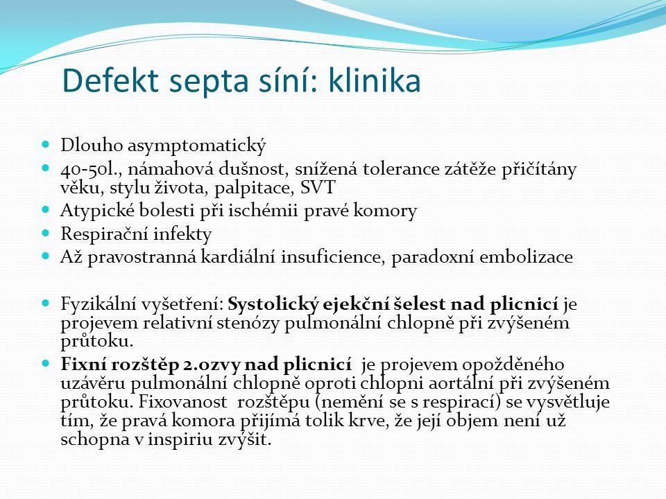 Defekt septa síní: klinika
