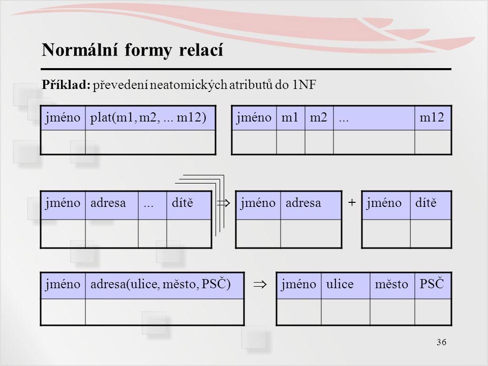 Normální formy relací Příklad: převedení neatomických atributů do 1NF