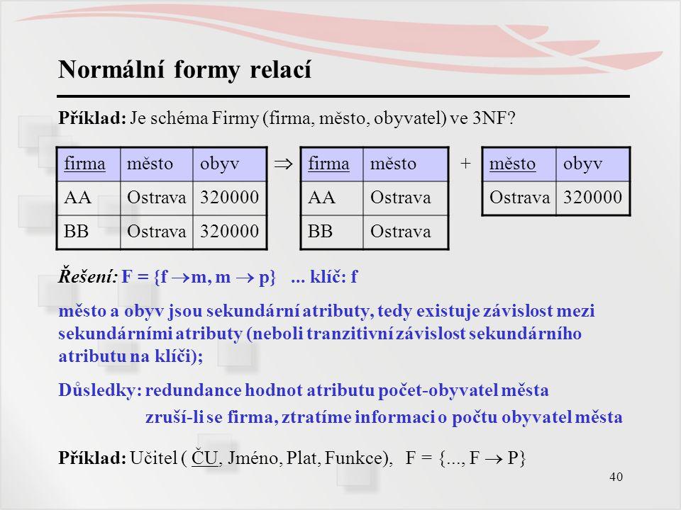 Normální formy relací Příklad: Je schéma Firmy (firma, město, obyvatel) ve 3NF firma. město. obyv.