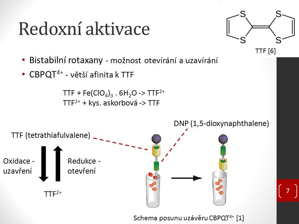 Redoxní aktivace Bistabilní rotaxany - možnost otevírání a uzavírání