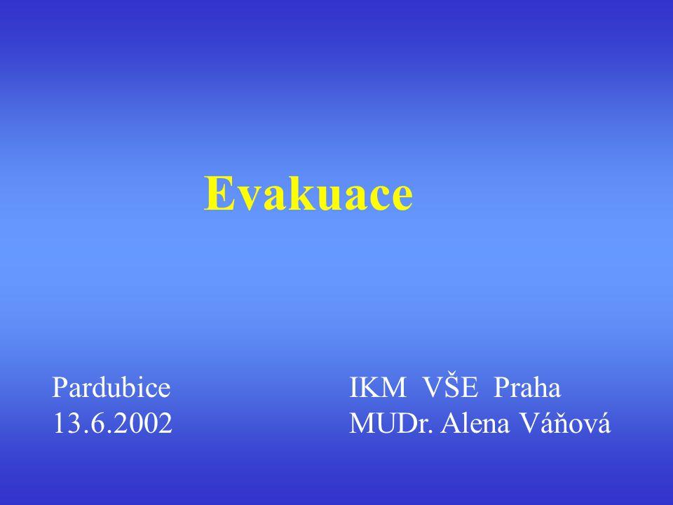Evakuace Pardubice 13.6.2002 IKM VŠE Praha MUDr. Alena Váňová