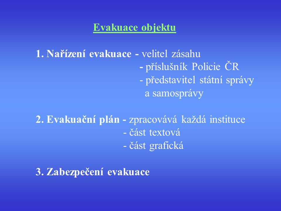 Evakuace objektu 1. Nařízení evakuace - velitel zásahu. - příslušník Policie ČR. - představitel státní správy.