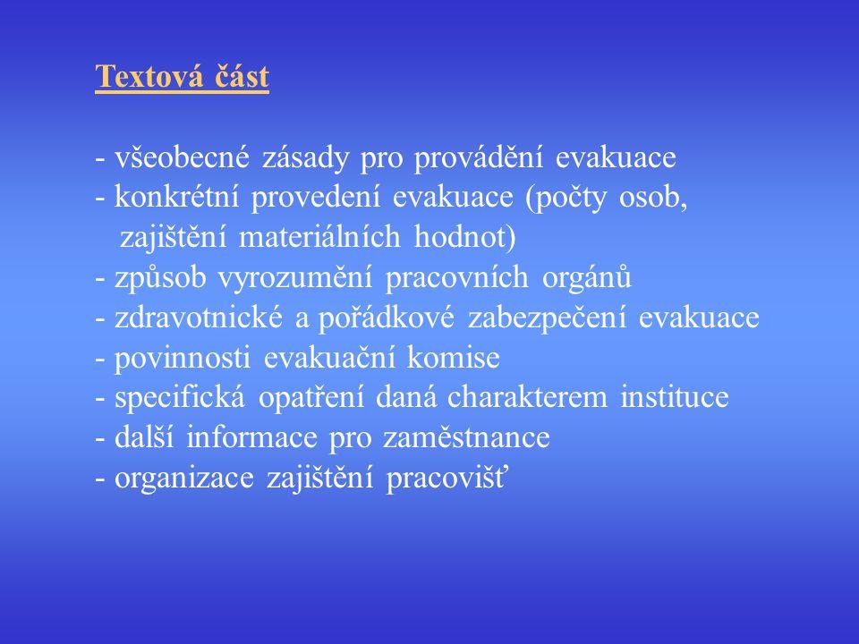 Textová část všeobecné zásady pro provádění evakuace. konkrétní provedení evakuace (počty osob, zajištění materiálních hodnot)