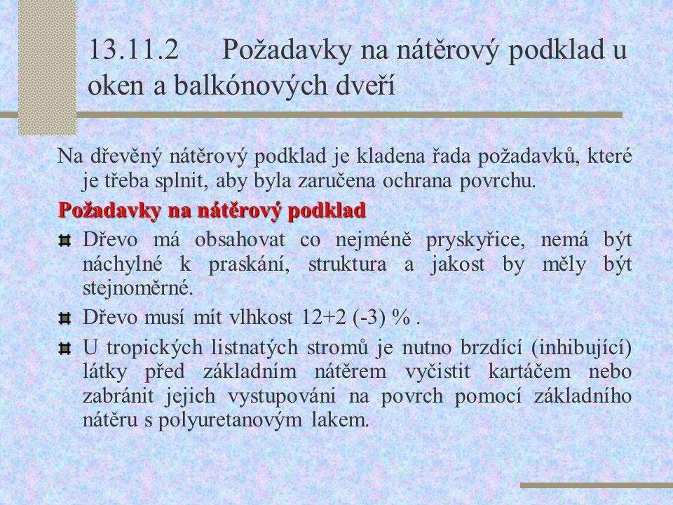 13.11.2 Požadavky na nátěrový podklad u oken a balkónových dveří