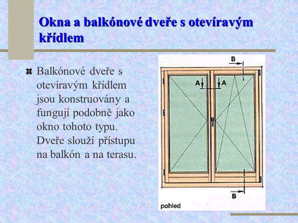 Okna a balkónové dveře s otevíravým křídlem