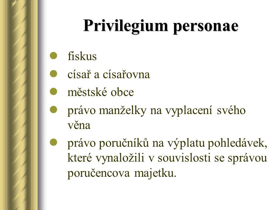 Privilegium personae fiskus císař a císařovna městské obce