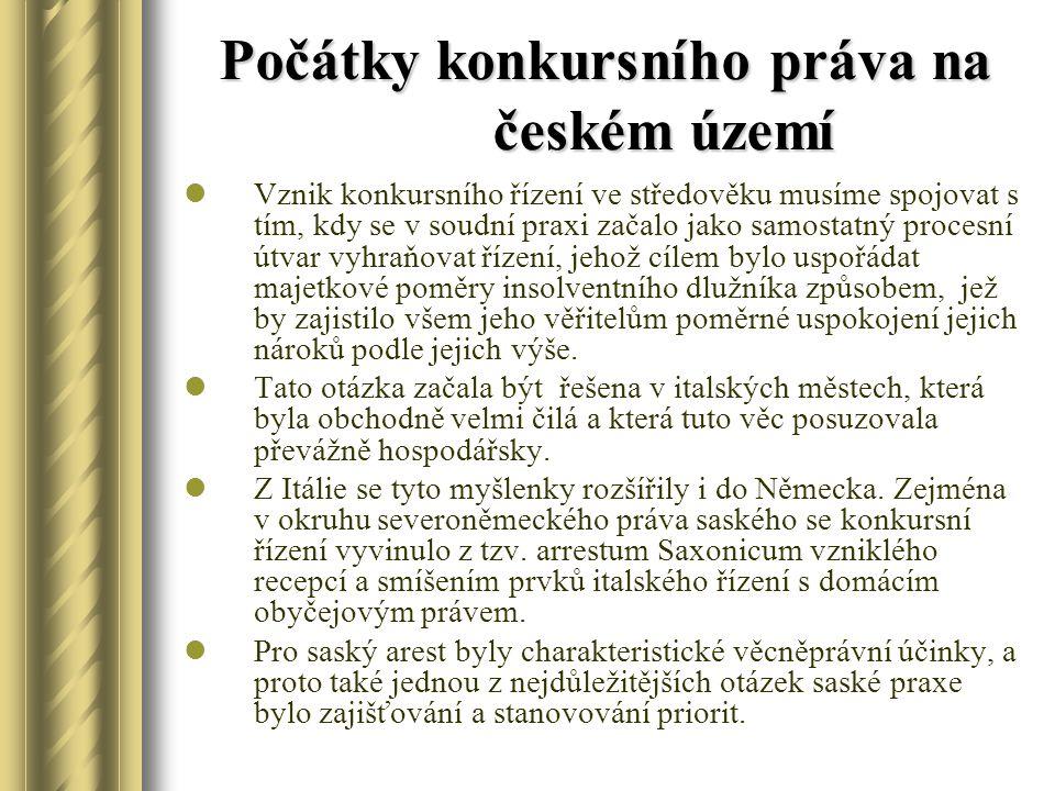 Počátky konkursního práva na českém území