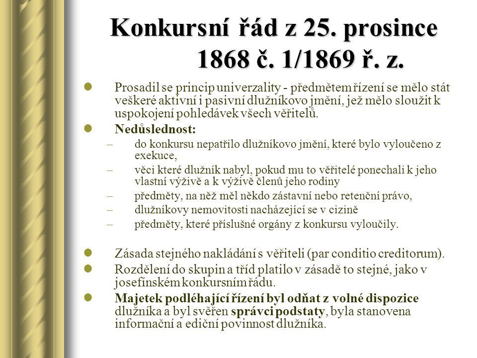 Konkursní řád z 25. prosince 1868 č. 1/1869 ř. z.