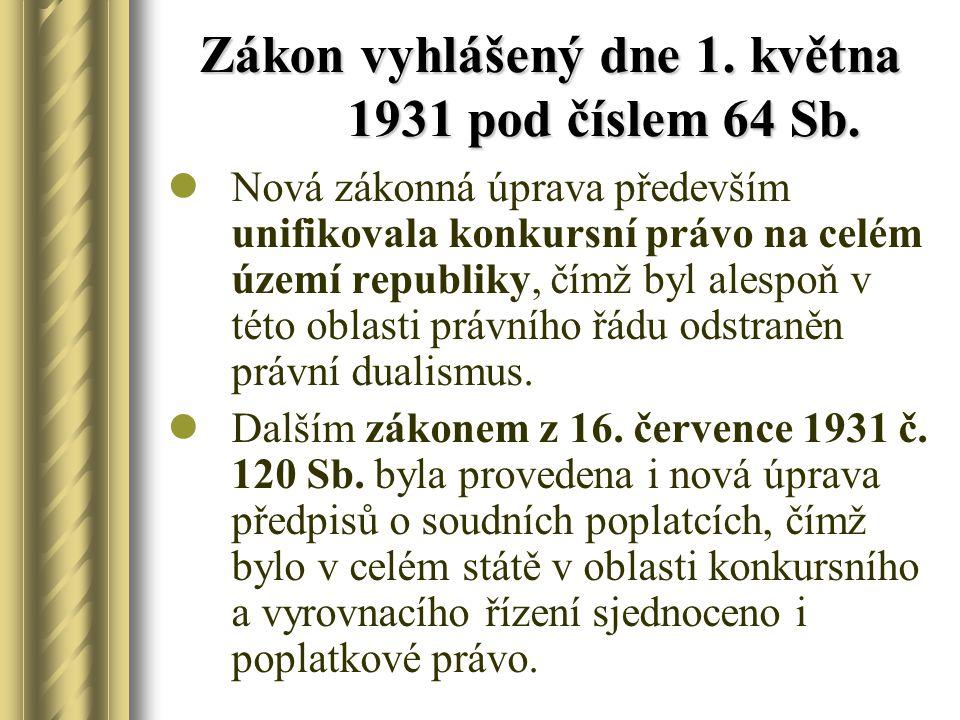 Zákon vyhlášený dne 1. května 1931 pod číslem 64 Sb.