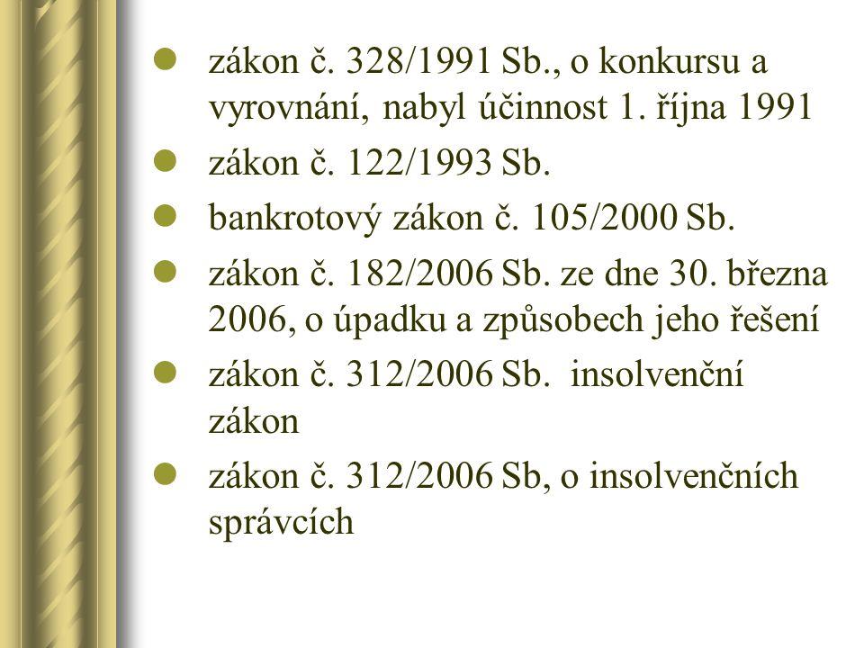 zákon č. 328/1991 Sb. , o konkursu a vyrovnání, nabyl účinnost 1