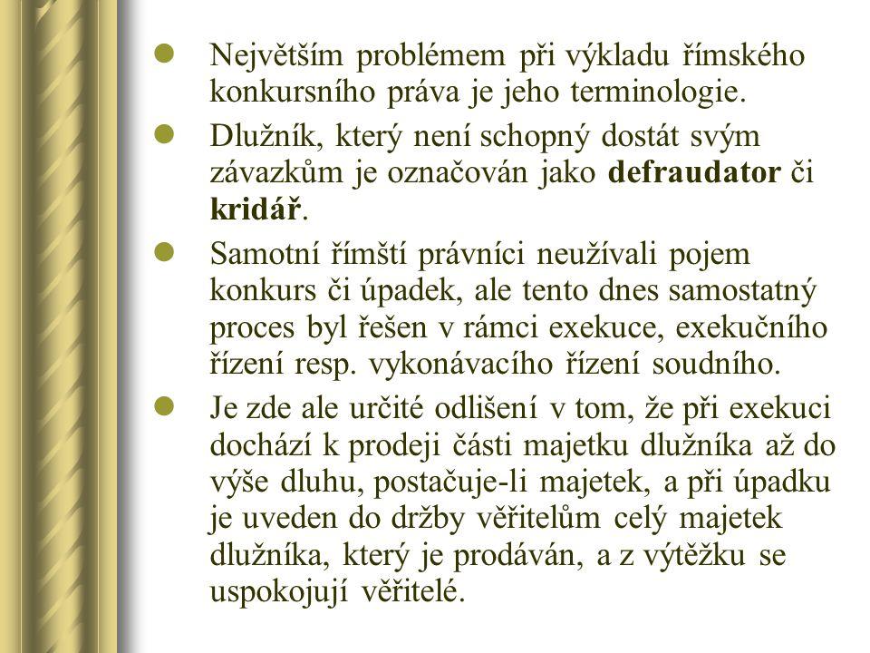 Největším problémem při výkladu římského konkursního práva je jeho terminologie.